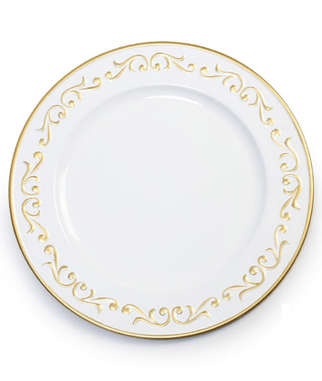 Sousplat  borda arabesco branco/ouro und