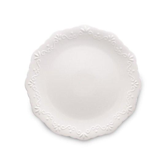 Prato sobremesa porcelana alto relevo 6pcs