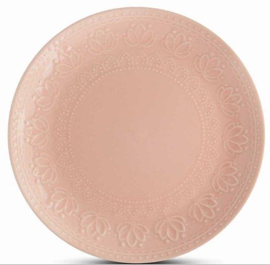 Prato sobremesa relieve rosa 6pcs corona