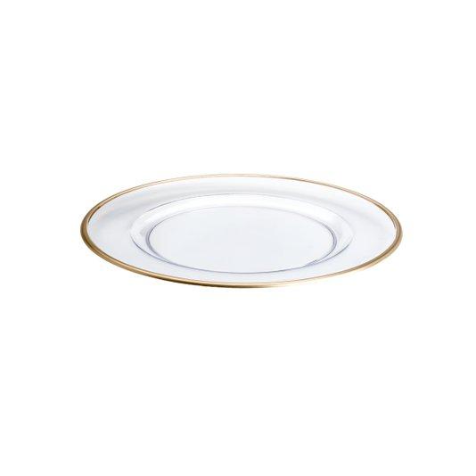 Sousplat plastico royal c/filete dourado 33cm 6pcs