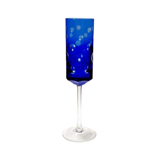 Taça cristal lapiado espumante azul escuro und