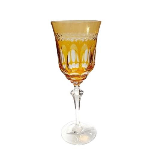 Taça cristal lapidado água ambar und