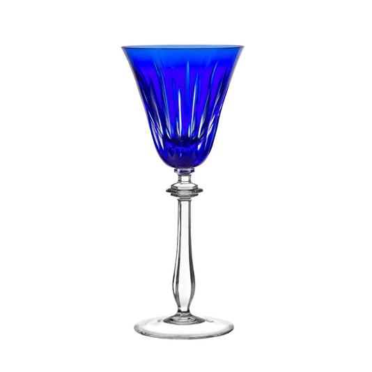 Taça cristal lapidado água azul escuro und