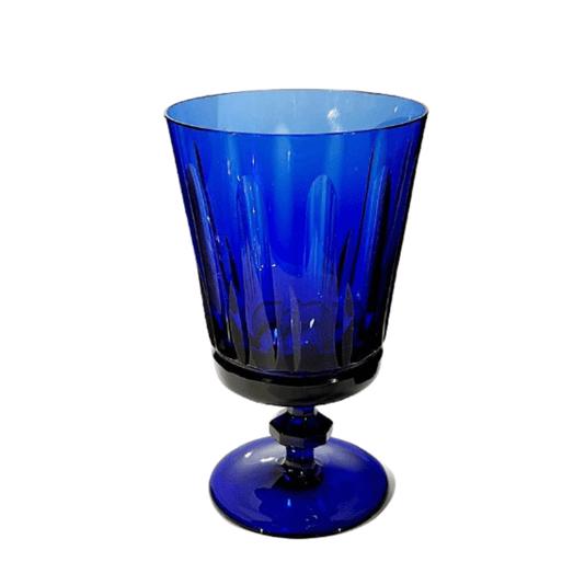 Taça cristal lapidado cidade jardim azul escuro und