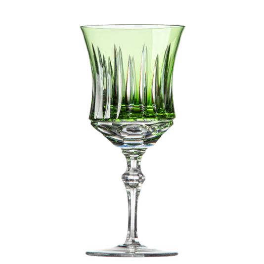 Taça cristal lapidado vinho tinto verde claro und