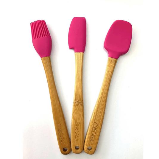 Utensilio de bambu e silicone mini pink 3 peças