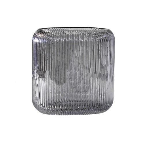 Vaso decorativo em vidro fume 17cm