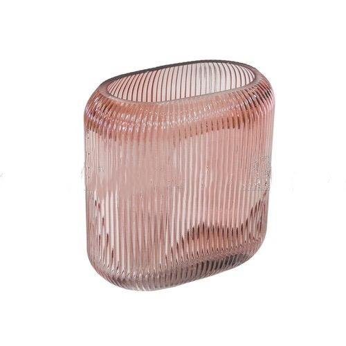 Vaso decorativo em vidro rosa 17cm